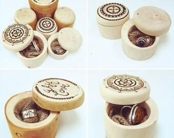 Gift/ ring box- Woodburned intricate handcrafted jewellery box *Boho**Rustic**Mandala**Mountains*