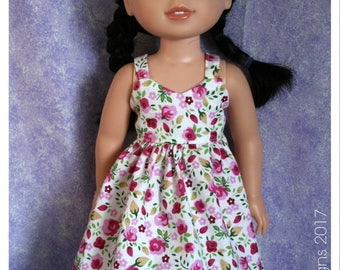 14.5 Inch Doll Clothing Summer Sundress Pink Floral Bouquet