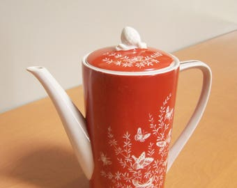 Stunning Vintage Shafford Les Papillons Orange & White Butterfly Design Teapot