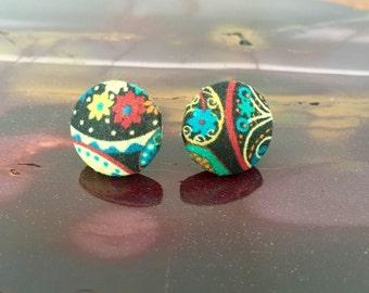 Button Earrings Liberty Print Cotton