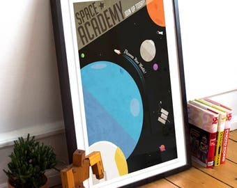 Space Academy Retro Style Poster Print - Typography Poster Print - spaceship, kids room, nursery, sci fi, science fiction,rocket ship,travel