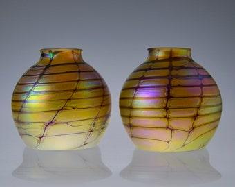 """Glass Lamp Shade, 2.25"""" fitter, Hand Blown Iridescent Glass"""