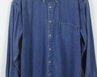 Vintage jeans shirt - dark denim - long sleeves - oversized
