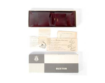 Vintage Wallet - Buxton Wallet - Vintage Buxton Wallet - Brown Leather Wallet - Buxton Three-Way Wallet - Leather Billfold-50s Buxton Wallet