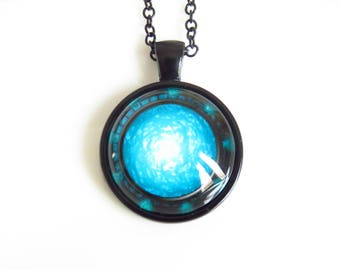 Stargate Pendant, glow in the dark pendant, Gateway Stargate cameo, Dimensional Gateway Pendant.
