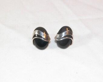 Sterling Silver Designer Black Onyx Earrings, 925 Unique Black Onyx Earrings, Vintage Sterling Silver Natural Black Onyx Earrings, Genuine