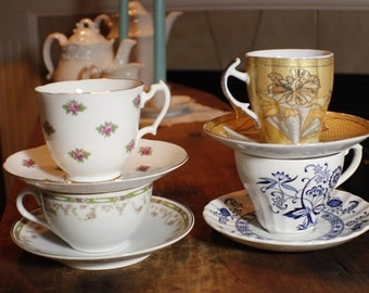 Tea Party Set of Coordinating Cups and Saucers -004