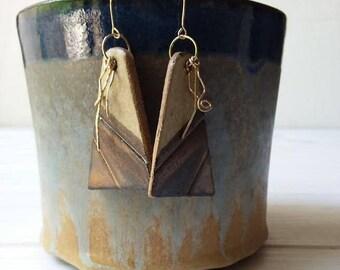 Ceramic Jewelry, Ceramic Earrings, Clay Earrings, Triangle Earrings, Modern Jewelry, Gold Filled Earrings, Women's Jewelry, Woman's Earrings