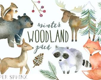 Winter Woodland Animals Clipart | Watercolor Forest Animals -  Winter Fox, Moose, Bear, Raccoon, Chipmunk, Deer Clip Art - Nursery Art