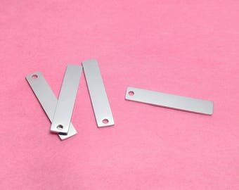 "1-1/4"" Stainless Steel Rectangle Tag Blanks, Finished Blanks, WITH HOLE, Mirror Finish on Both Sides, Stamping Blanks, Rectangle Blanks"