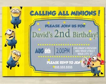 Minion Birthday Invitations, Printed Minion Birthday Invitations, Kid, Printed or Digital File*** FREE SHIPPING