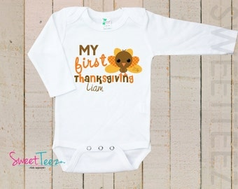 My First Thanksgiving Shirt Turkey Baby LONG SLEEVE Bodysuit Thanksgiving Personalized Shirt One Piece