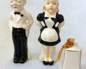 vintage Set of Butler and Maid Salt and Pepper Shakers with Call Bell