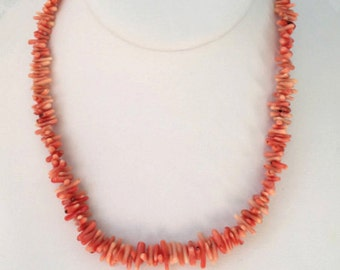 Pink Branch Coral and Sterling Silver Necklace