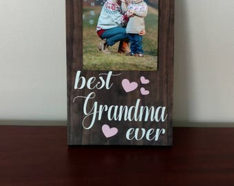 Best Grandma Ever Picture Frame.Grandma Frame.Picture Frame.Mother's Day Gift Idea.Display Photos.Photo Hanger.Wall Decor.Rustic Decor.Frame