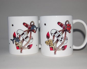 MR & MRS wedding mugs, a pair of tattoo anchor mugs,His and Hers mugs, tattoo wedding gift for Mr and Mrs, wedding anniversary gift, anchor