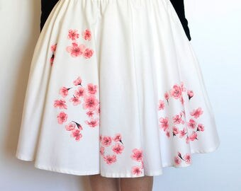 Cherry blossom skirt, Circle skirt, Hand painted skirt, Wearable art, Pastel pink flowers, Petticoat skirt, 5th anniversary gift for her
