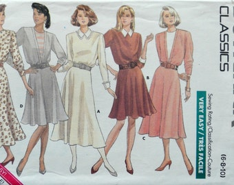 Uncut 1980s Butterick Vintage Sewing Pattern 5894, Size 6-8-10; Misses' Dress