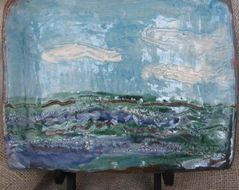 Seascape Large Plate - turquoise green and white