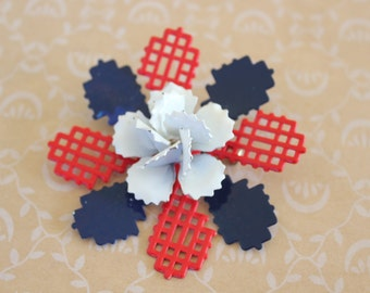 Vintage Enamel Flower Brooch Red White and Blue Patriotic Pin