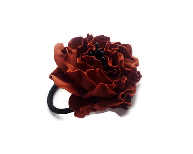 Carmine Marsala Scrunchy Flower Burgundy Dark red Flower barrette Hair Ties Pin Prom Wedding Mom Event Flowers Big rose handmade brooch