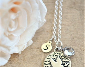 Personalized Necklace | Dove Necklace | Handstamped Initial | Dove Charm Necklace | Peace Necklace | Peace Charm Necklace | Quote Necklace