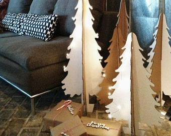 Set of 4 Cardboard Christmas trees
