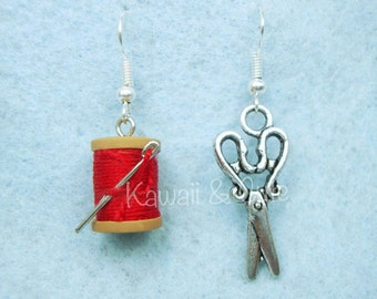 Earrings Spool of thread and Scissors