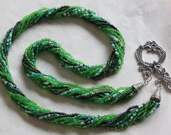 Many shades of green necklace