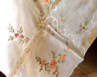 Big white linen table cloth vintage with colorful floral embroidering