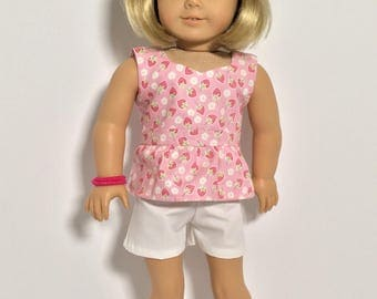 """Fits American Girl Doll peplum top, Top for 18"""" girl dolls, Blouse, Shirt, Strawberry top, sewn to fit like American Girl Doll clothes"""