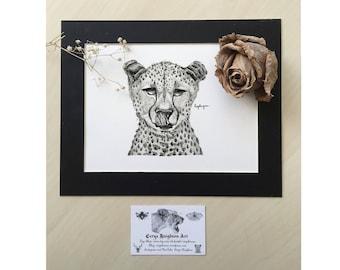 Pen and Ink Cheetah Illustration Art Print - Dotwork Animal Traditional Art, Big Cats Drawing