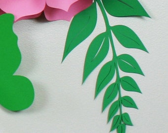 Paper leaves, green leaves, leaves cut outs, Pack of 5 leaves