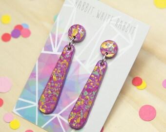 Purple Splatter Hand Painted Dangle Earrings