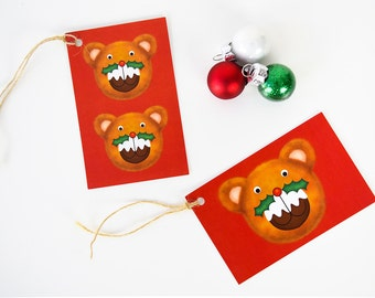 Christmas Gift Tags Christmas Teddy Bear Christmas Pudding-Xmas Gift Tag Set-Holiday Gift Tags Pack-Cute Christmas Tags-Animal Christmas