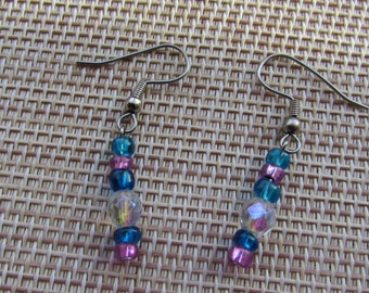 Aqua Beaded Earrings, Aqua Seed Beads, Lavender Seed Beads, Czech Crystals, Clear, Hypoallergenic, Fish Hook, Ear Wires