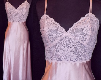 Vintage Nightgown by Victoria's Secret, Rose Satin and Lace, Size Small 34