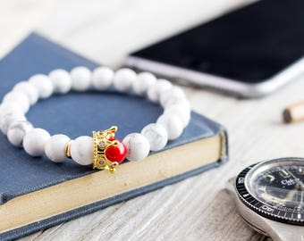 8mm - The White King - White howlite & red coral beaded stretchy bracelet with gold micro pave crown, womens bracelet, mens beaded bracelet