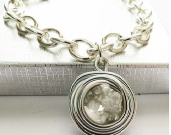 Wrap Silver Jewelry, Wrap Silver Bracelet, White Stone Jewelry, White Stone Bracelet, Statement Silver Bracelet, Druzy Stone Bracelet, White