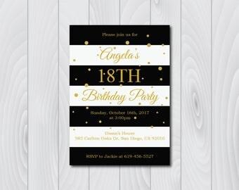 18th Birthday Invitation/Printable Gold & Black Birthday Invitation/e-card invitation/Template/Birthday Invitation/eighteenth birthday card