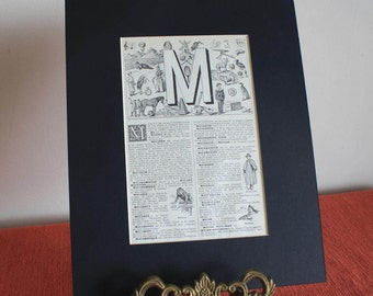 1939 Vintage french Alphabet letter M mounted print illustration matted page