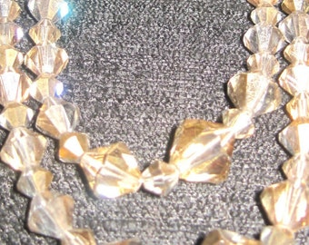 Necklace, Clip  Earrings-OLD.  The Necklace is a  Diamond- Shaped  Glass Bead Choker.  DAZZLING.