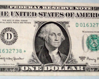 Federal Reserve Star Note  U.S.  Paper Currency --1963 A  United States  One Dollar  Bill --Ohio