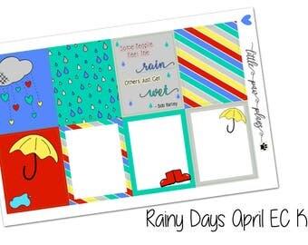 Rainy Days April Vertical Planner Kit // Planner Stickers // Erin Condren, Kikki K, Bullet Journal, Filofax, Happy Planner