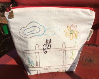 Handmade Cat on a Fence Embroidered Bag