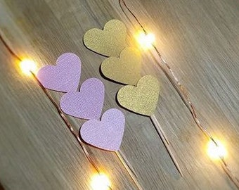Pink and Gold Shimmer Heart Cupcake Toppers