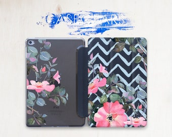 Pink Floral iPad Case iPad Pro 9.7 2017 Chevron iPad Case Flowers iPad Mini Case iPad 2 iPad Air Case iPad 10.5 Case iPad Pro 12.9 CGSC031