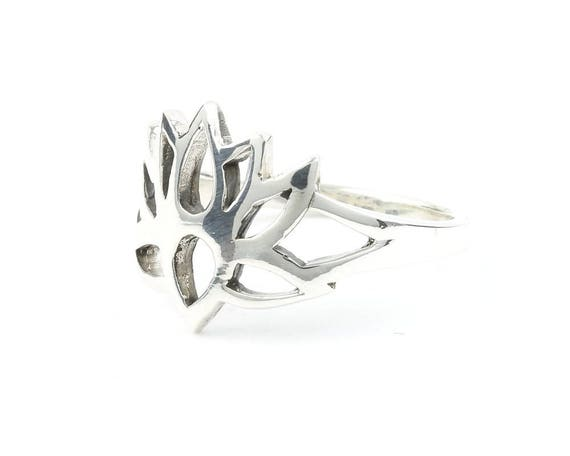 Sterling Silver Lotus Flower Ring, Yoga Jewelry, Meditation, Spiritual, Nature, Flower, Boho, Bohemian, Gypsy, Hippie, Festival Jewelry