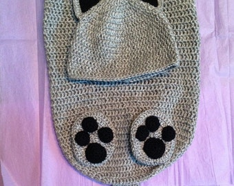 Kitty Cat Swaddler with Cap and Booties