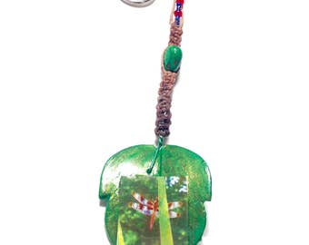 Spotted Dragonfly Glass Leaf - Keychain